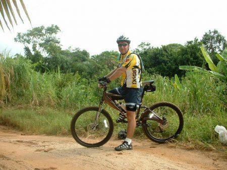 Aaron rides his Fuji in Gabon