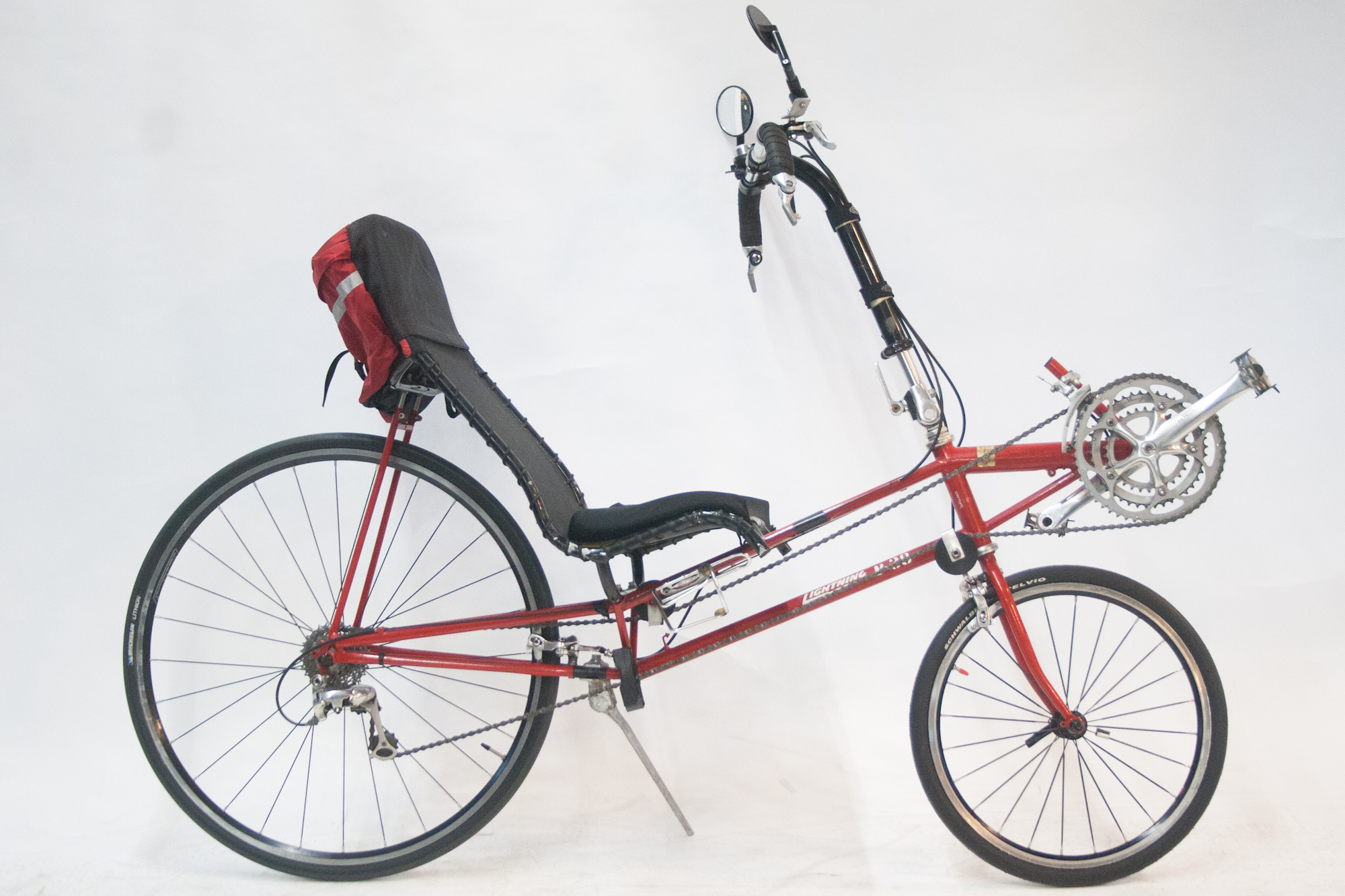 Red Lightning p-38 with a bag, mirror and kickstand
