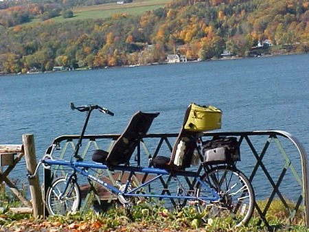 bike and lake
