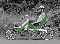 Recumbent Bike - Rider is seated in a comfortable, leaning, reclined position