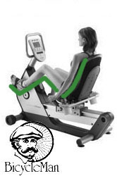 Recumbent Exercise Bike - Rider is seated in a comfortable, leaning, reclined position